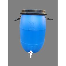 Бочка пластиковая 65 литров с краном,крышка на  обруче