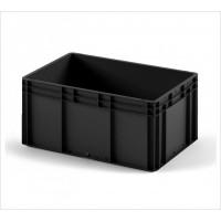 Пластиковый ящик 800x600x320 EC-8632 ESD черный с гладким дном